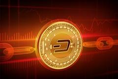 隐藏货币 块式链 破折号 3D与wireframe链子的等量物理金黄破折号硬币 Blockchain概念 编辑可能的Cryp 免版税库存照片