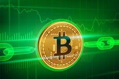 隐藏货币 块式链 Bitcoin 3D与wireframe链子的等量物理金黄bitcoin Blockchain概念 编辑可能的啼声 图库摄影