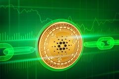 隐藏货币 块式链 Cardano 与wireframe链子的3D等量物理金黄Cardano硬币 Blockchain概念 editabl 库存照片