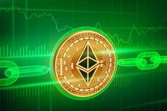 隐藏货币 块式链 Ethereum 与wireframe链子的3D等量物理金黄Ethereum硬币 Blockchain概念 edita 库存照片