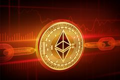 隐藏货币 块式链 Ethereum 与wireframe链子的3D等量物理金黄Ethereum硬币 Blockchain概念 edita 图库摄影
