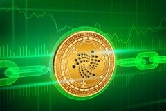隐藏货币 块式链 iota 与wireframe链子的3D等量物理金黄Iota硬币 Blockchain概念 编辑可能的Cryp 免版税库存照片
