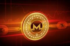 隐藏货币 块式链 Monero 与wireframe链子的3D等量物理金黄Monero硬币 Blockchain概念 编辑可能 库存照片