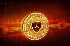 隐藏货币 块式链 Nem 3D与wireframe链子的等量物理金黄Nem硬币 Blockchain概念 编辑可能隐藏 库存图片