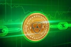 隐藏货币 块式链 Nem 3D与wireframe链子的等量物理金黄Nem硬币 Blockchain概念 编辑可能隐藏 免版税库存图片