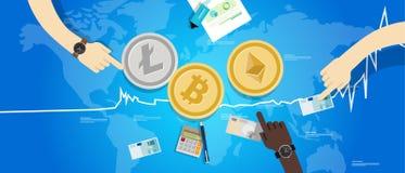 隐藏货币bitcoin ethereum litecoin价格价值去的市场价格回稳增量图 库存照片