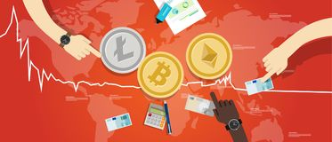 隐藏货币bitcoin ethereum litecoin价格沿着走减退图崩溃的价值市场 库存图片