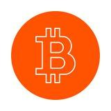 隐藏货币bitcoin,单色圆的象,平的样式的风格化标志 免版税图库摄影