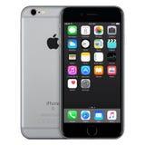 间隔与iOS 9的灰色苹果计算机iPhone 6s正面图在屏幕上 库存图片