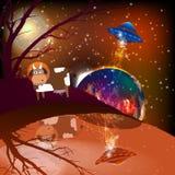 间隔火星母牛的飞碟绑架风景  向量例证