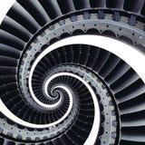 隔绝在三卷变形的白色蓝灰色工业空气工艺涡轮叶片螺旋背景样式 金属涡轮 库存图片