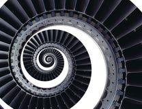 隔绝在三卷变形的白色蓝灰色工业空气工艺涡轮叶片螺旋背景样式 金属涡轮 图库摄影