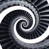 隔绝在三卷变形的白色蓝灰色工业空气工艺涡轮叶片螺旋背景样式 金属涡轮 免版税库存图片
