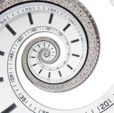 隔绝在白色未来派现代白色报时表摘要分数维超现实的螺旋 手表时钟异常的抽象纹理 库存图片