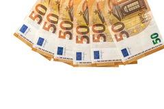 隔绝在白色的50张欧洲钞票 库存图片