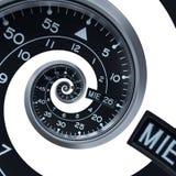 隔绝在白色经典现代黑银色报时表摘要分数维超现实的螺旋 手表时钟异常的抽象纹理 库存图片
