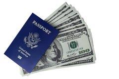 隔绝护照和钞票的弛豫时间的 免版税库存图片