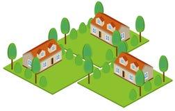 隔绝色的和等量房子象设置了与一块土地 库存例证