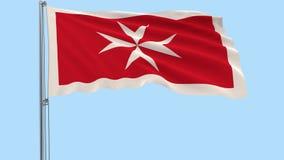 隔绝马耳他-在振翼在透明背景的风的旗杆的旗子, 3d翻译, PNG格式wi民用少尉  向量例证