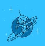 空间行星土星和宇航员 免版税库存图片