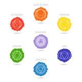 隔绝在白色背景例证七chakras设置,印度教,佛教的标志 库存照片