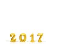隔绝在白色背景,新年好概念的2017个真正的3d对象 免版税图库摄影