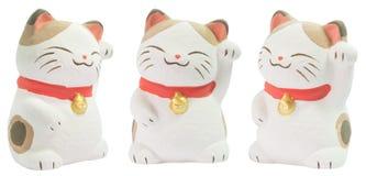 白色陶瓷日本猫玩偶 库存照片
