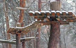 障碍桩在冬天 免版税库存图片