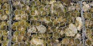 障碍的特写镜头被建立岩石小片断在fenc后的 免版税图库摄影