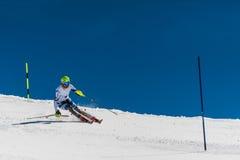障碍滑雪滑雪者在Gudauri,乔治亚 库存照片