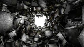 隧道标示用光滑的黑暗的三维立方体 ?? 3d?? 库存例证