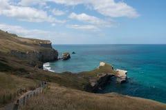 隧道海滩步行达尼丁新西兰 免版税库存照片