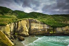 隧道美丽的峭壁在达尼丁,新西兰靠岸 免版税库存照片