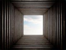 隧道结束有天空视图 库存图片