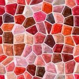 难倒大理石马赛克样式无缝的背景与白色水泥-红色,橙色,伯根地,老桃红色和棕色颜色 皇族释放例证