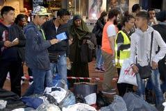 难民在哥本哈根DENAMRK到达 免版税库存照片