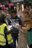 难民在哥本哈根DENAMRK到达 库存照片