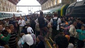 难民在布达佩斯,匈牙利 图库摄影