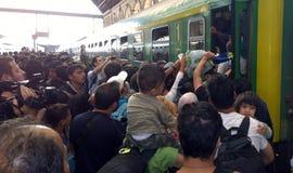难民在布达佩斯,匈牙利 免版税库存照片