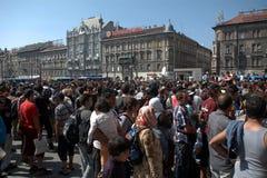 难民在布达佩斯, Keleti火车站 免版税库存照片