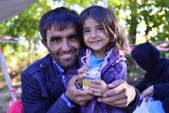 难民在Babska (塞尔维亚人- Croatina边界) 免版税图库摄影