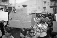 难民抗议在雅典 免版税库存图片