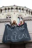 难民权利集会 库存图片
