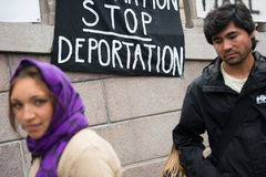 难民权利集会 库存照片