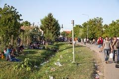 从难民营的场面在Tovarnik 免版税图库摄影