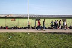 从难民营的场面在Tovarnik 库存图片