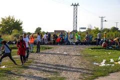 从难民营的场面在Tovarnik 免版税库存图片