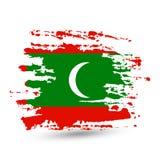 难看的东西与马尔代夫国旗的刷子冲程 免版税库存照片