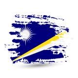 难看的东西与马绍尔群岛国旗的刷子冲程 库存图片