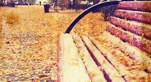 难看的东西与黄色叶子的秋天在长凳的背景和雪 免版税库存照片